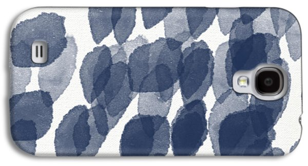 Interior Galaxy S4 Cases - Indigo Rain- abstract blue and white painting Galaxy S4 Case by Linda Woods