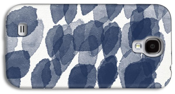 Patterned Galaxy S4 Cases - Indigo Rain- abstract blue and white painting Galaxy S4 Case by Linda Woods