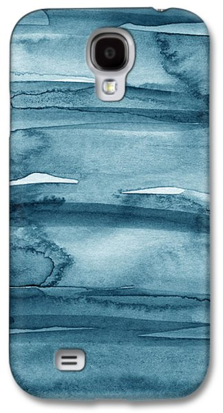 Ties Galaxy S4 Cases - Indigo Water- abstract painting Galaxy S4 Case by Linda Woods