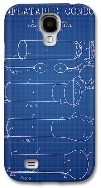 Sex Digital Art Galaxy S4 Cases - Inflatable Condom Patent from 1981 - Blueprint Galaxy S4 Case by Aged Pixel