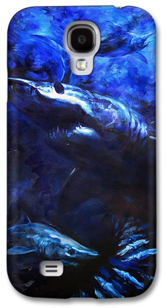 Sharks Paintings Galaxy S4 Cases - Inky Waters Galaxy S4 Case by Tom Dauria