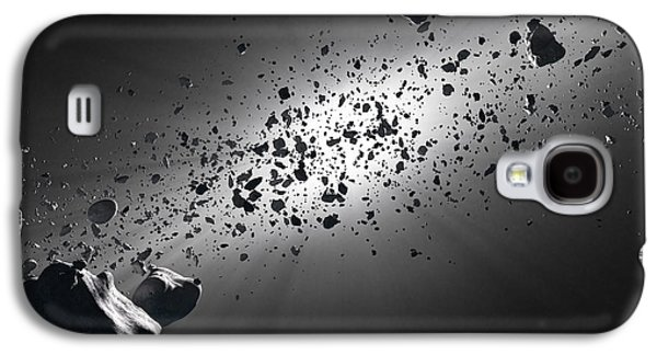 Stone Digital Art Galaxy S4 Cases - Inside the Asteroid Belt against the sun Galaxy S4 Case by Johan Swanepoel