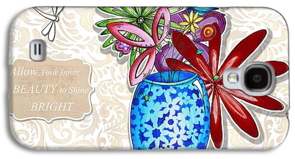Joyful Drawings Galaxy S4 Cases - Inspirational Floral Dragonfly Painting Flower Vase with quote by Megan Duncanson Galaxy S4 Case by Megan Duncanson