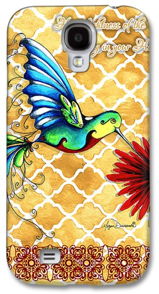 Gold Lime Green Galaxy S4 Cases - Inspirational Hummingbird Art Gold Red Turquoise Pattern Quote by Megan Duncanson Galaxy S4 Case by Megan Duncanson