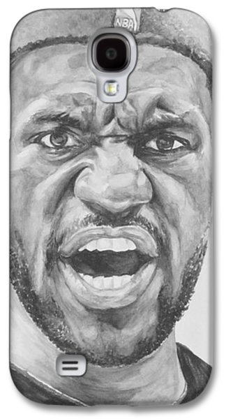 Nba Paintings Galaxy S4 Cases - Intensity Lebron James Galaxy S4 Case by Tamir Barkan