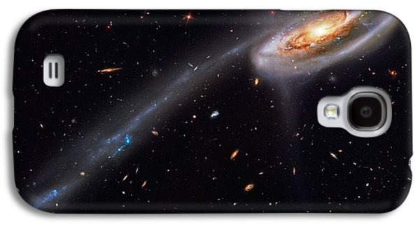 Space Paintings Galaxy S4 Cases - Interacting Galaxies Galaxy S4 Case by Celestial Images