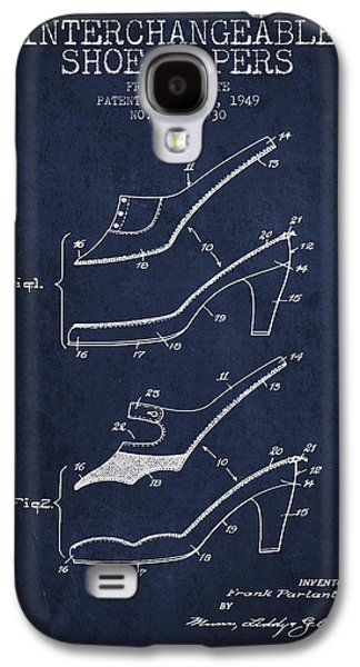 Shoe Digital Art Galaxy S4 Cases - Interchangeable Shoe Uppers patent from 1949 - Navy Blue Galaxy S4 Case by Aged Pixel