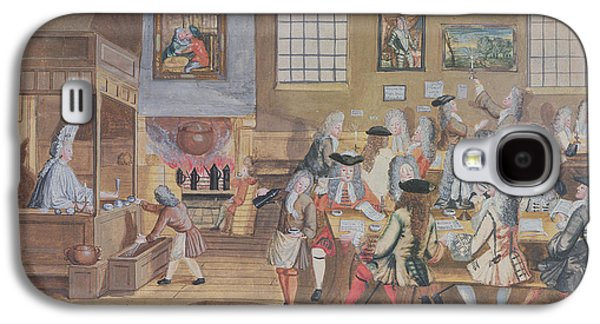 Coffee Drinking Galaxy S4 Cases - Interior Of A London Coffee House, C.1650-1750 Wc On Paper Galaxy S4 Case by English School