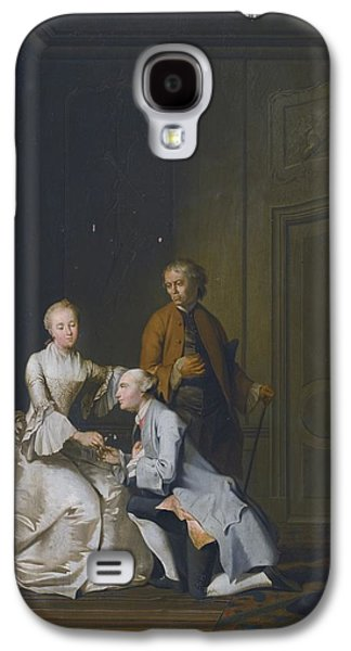 Interior Scene Galaxy S4 Cases - Interior Scene With A Lady And Two Suitors Galaxy S4 Case by Jacobus Buys