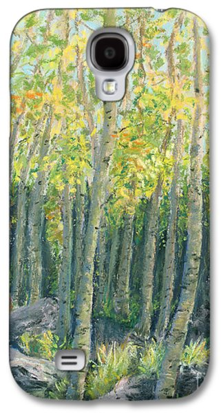 Park Scene Pastels Galaxy S4 Cases - Into the Aspens Galaxy S4 Case by Mary Benke