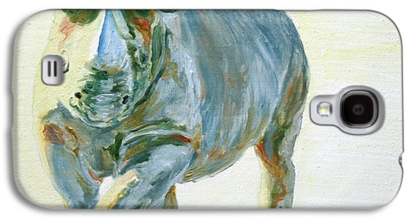 Rhinoceros Paintings Galaxy S4 Cases - Into the Light Alex Galaxy S4 Case by Sarah Soward