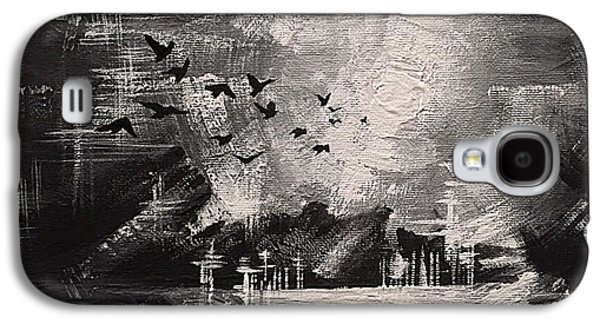 Black Bird.flying Paintings Galaxy S4 Cases - Into The Light Galaxy S4 Case by Vesna Delevska
