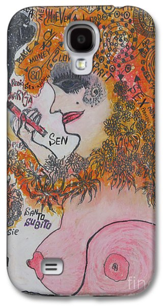Satire Mixed Media Galaxy S4 Cases -  Devout Life and  Ideas    Polish    S e x i  Femme Fatale. Viewed 170 Times Galaxy S4 Case by  Andrzej Goszcz