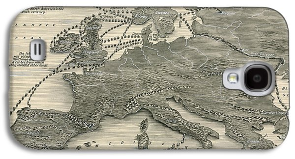 Map Drawings Galaxy S4 Cases - Invasions by the Norsemen Galaxy S4 Case by Leslie Ashwell Wood