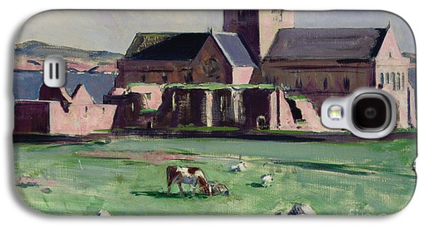 Scotland Paintings Galaxy S4 Cases - Iona Abbey from the northwest Galaxy S4 Case by Francis Campbell Boileau Cadell