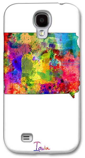 Cartography Digital Art Galaxy S4 Cases - Iowa Map Galaxy S4 Case by Michael Tompsett