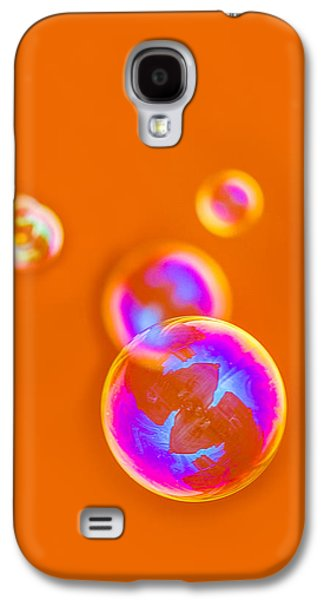 Mobile Designs Galaxy S4 Cases - iPhone Case - Orange Bubbles Galaxy S4 Case by Alexander Senin
