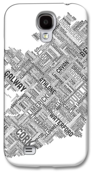 Cartography Digital Art Galaxy S4 Cases - Ireland Eire City Text map Galaxy S4 Case by Michael Tompsett