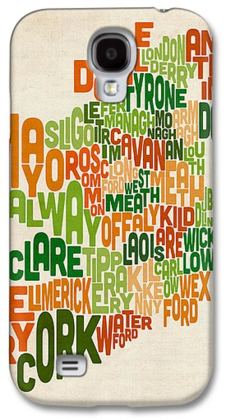 Ireland Galaxy S4 Cases - Ireland Eire County Text Map Galaxy S4 Case by Michael Tompsett