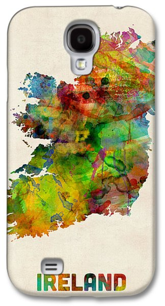 Ireland Galaxy S4 Cases - Ireland Eire Watercolor Map Galaxy S4 Case by Michael Tompsett