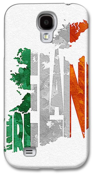 Graphic Mixed Media Galaxy S4 Cases - Ireland Typographic Map Flag Galaxy S4 Case by Ayse Deniz