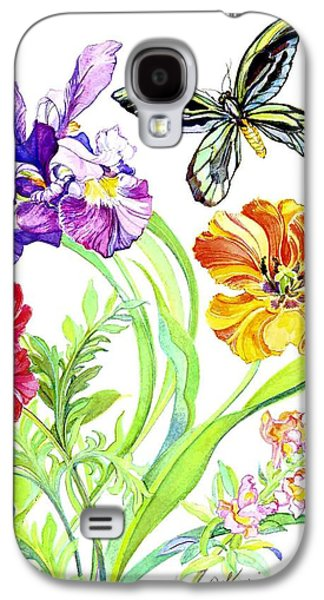 Floral Still Life Paintings Galaxy S4 Cases - Iris and Queen Alexandra Butterfly Galaxy S4 Case by Kimberly McSparran