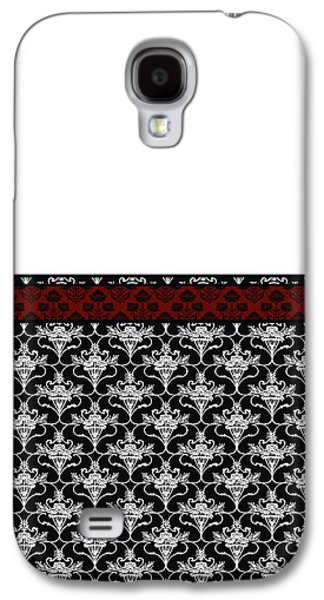 Wine Deco Art Galaxy S4 Cases - Iris Damask in Red Black and White Galaxy S4 Case by Jenny Armitage