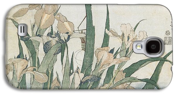 Iris Flowers And Grasshopper Galaxy S4 Case by Hokusai
