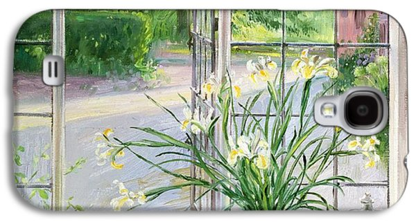 Irises And Sleeping Cat Galaxy S4 Case by Timothy Easton