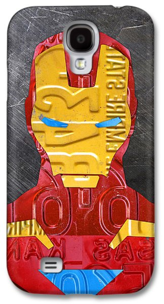 Iron Galaxy S4 Cases - Iron Man Superhero Vintage Recycled License Plate Art Portrait Galaxy S4 Case by Design Turnpike