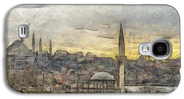 Ancient Pastels Galaxy S4 Cases - Istanbul Cityscape Digital Drawing Galaxy S4 Case by Antony McAulay