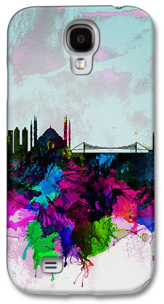 Istanbul Galaxy S4 Cases - Istanbul Watercolor Skyline Galaxy S4 Case by Naxart Studio