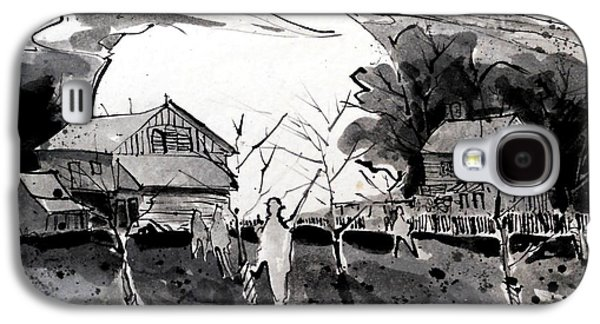Haunted House Drawings Galaxy S4 Cases - It Happened At Klingle Farm Galaxy S4 Case by Larry Lerew