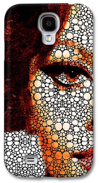 Face Mixed Media Galaxy S4 Cases - Italian Beauty - Portrait Stone Rockd Art By Sharon Cummings Galaxy S4 Case by Sharon Cummings