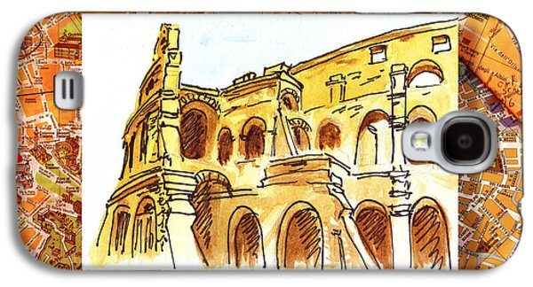 Maps Paintings Galaxy S4 Cases - Italy Sketches Rome Colosseum Ruins Galaxy S4 Case by Irina Sztukowski