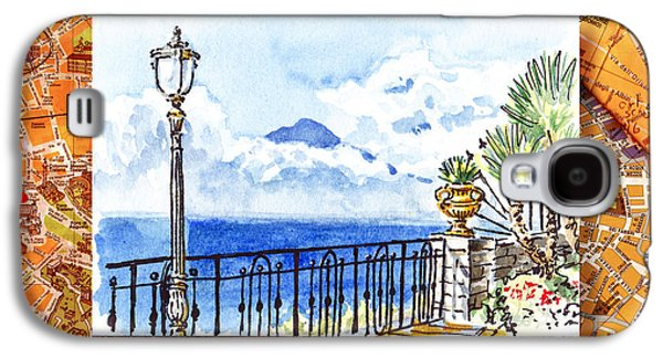 Maps Paintings Galaxy S4 Cases - Italy Sketches Sorrento View On Volcano Vesuvius  Galaxy S4 Case by Irina Sztukowski