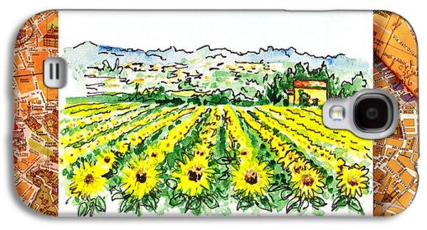 Harvest Art Galaxy S4 Cases - Italy Sketches Sunflowers of Tuscany Galaxy S4 Case by Irina Sztukowski