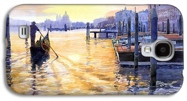Town Paintings Galaxy S4 Cases - Italy Venice Dawning Galaxy S4 Case by Yuriy Shevchuk