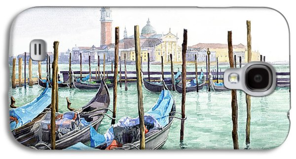 Morning Light Paintings Galaxy S4 Cases - Italy Venice Gondolas Parked Galaxy S4 Case by Yuriy Shevchuk