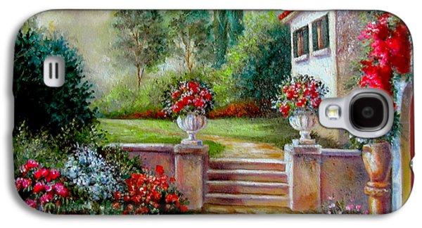 Garden Scene Galaxy S4 Cases - Italyan Villa with garden  Galaxy S4 Case by Gina Femrite