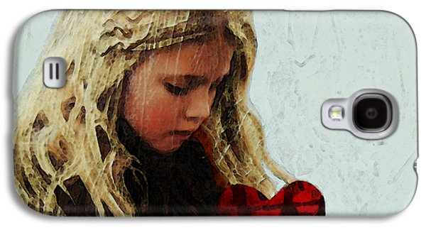 Little Girl Mixed Media Galaxy S4 Cases - Its All I Have - Mixed Media Art By Sharon Cummings Galaxy S4 Case by Sharon Cummings