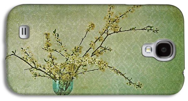 Cherry Blossoms Photographs Galaxy S4 Cases - Ivory and Turquoise Galaxy S4 Case by Priska Wettstein