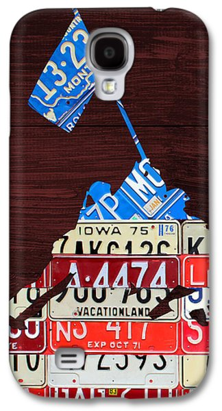 American Flag Mixed Media Galaxy S4 Cases - Iwo Jima United States Marines Raising the American Flag Silhouette License Plate Art on Wood Board Galaxy S4 Case by Design Turnpike