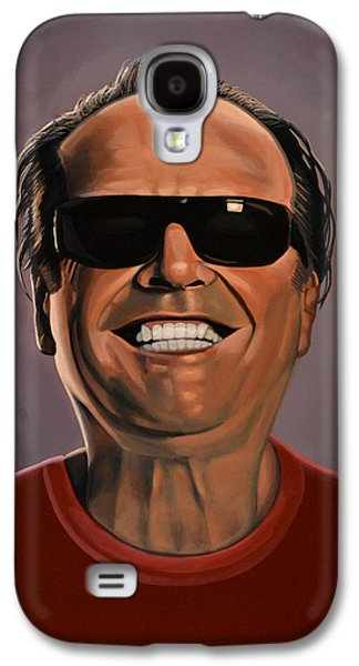 Actors Paintings Galaxy S4 Cases - Jack Nicholson 2 Galaxy S4 Case by Paul  Meijering