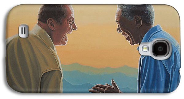 Actors Paintings Galaxy S4 Cases - Jack Nicholson and Morgan Freeman Galaxy S4 Case by Paul Meijering