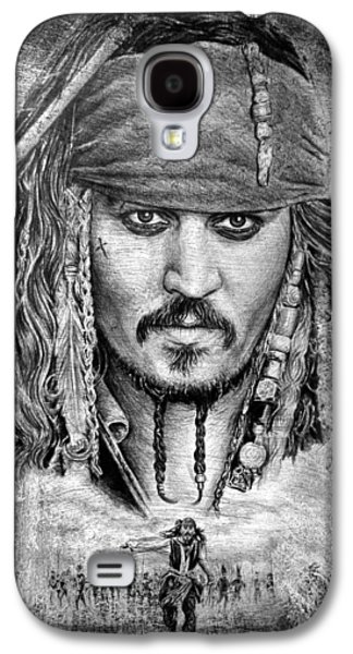 Character Portraits Drawings Galaxy S4 Cases - Jack Sparrow Galaxy S4 Case by Andrew Read