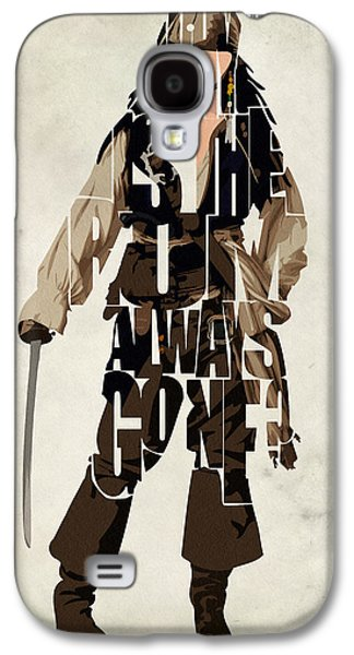 Jack Sparrow Inspired Pirates Of The Caribbean Typographic Poster Galaxy S4 Case by Ayse Deniz