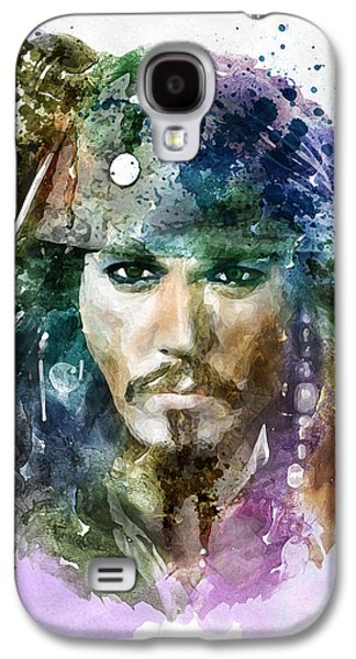 """""""square """" Mixed Media Galaxy S4 Cases - Jack Sparrow watercolor portrait Galaxy S4 Case by Marian Voicu"""
