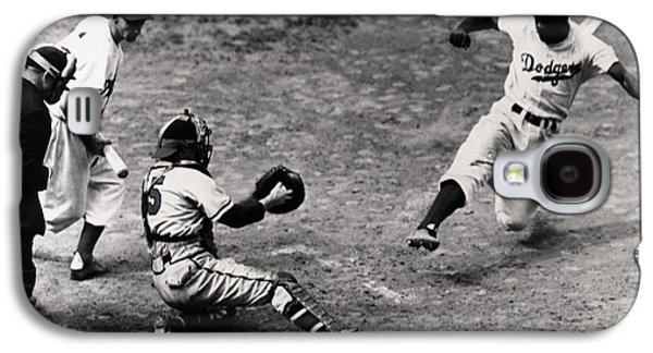 First Galaxy S4 Cases - Jackie Robinson in Action Galaxy S4 Case by Gianfranco Weiss