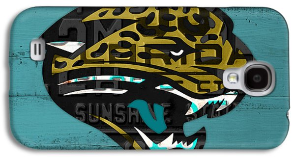 Jacksonville Jaguars Football Team Retro Logo Recycled Florida License Plate Art Galaxy S4 Case by Design Turnpike